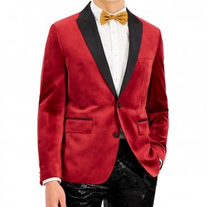 Apple Red Mens Velvet Blazer