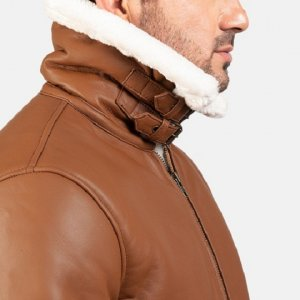 Aviator Bomber Style Brown Jacket