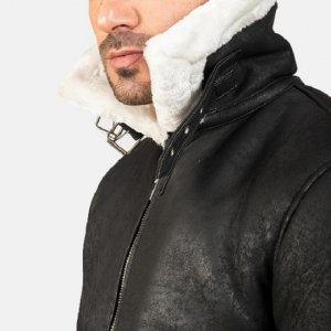 B-3 Distressed Black Leather Jacket