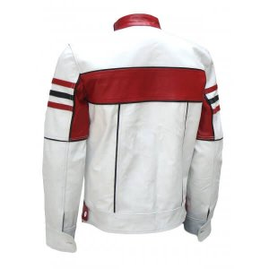 Celesse Bi-Color White Red Leather Jacket