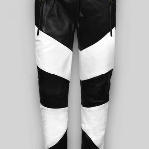 Mens Black White Leather Pant