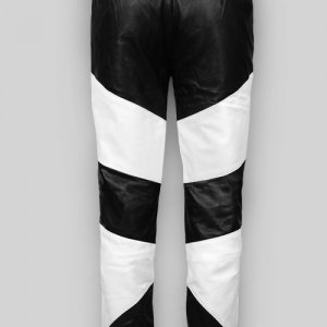Black White Real Leather Pant