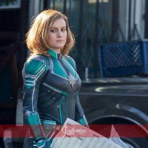 Captain Marvel Carol Danvers Turquoise green and grey Jacket