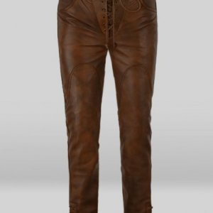 Mens Lace Up Brown Leather Pant