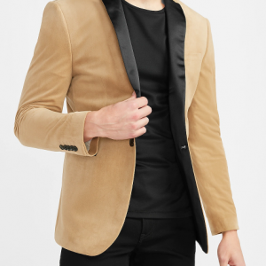 Camel Velvet Color Blazer