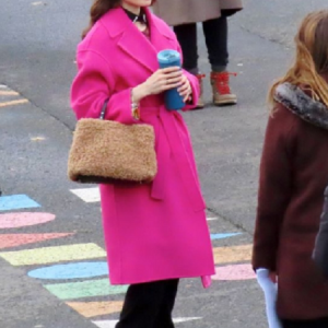 Lily Collins Pink Leather Coat