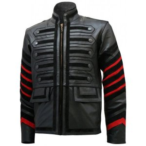 Black Military Bertinelli Leather Jacket
