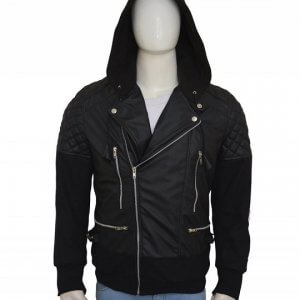 Justin Bieber Hooded Leather Black Jacket
