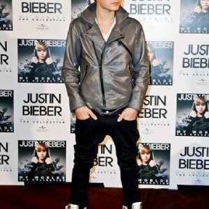 Justin Bieber Grey Leather Jacket