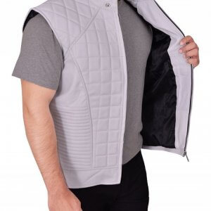 Mens Justin Bieber White Quilted Leather Vest
