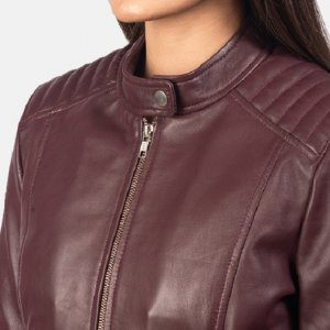 Kelsee Maroon Womens Leather Biker Jacket
