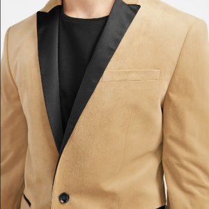 Velvet Blazer in Camel Color