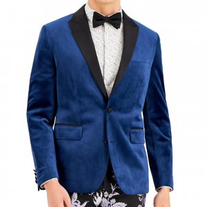 Mens Dark Blue Velvet Blazer