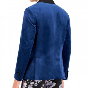 Velvet Blazer In Dark Blue