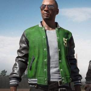 Playerunknown's Battlegrounds Letterman Green Leather Jacket