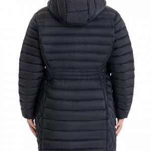 Womens Plus Size Black Puffer Hoodie Style Coat