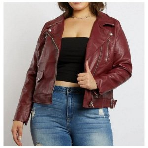 Plus Size Burgundy Black Jacket