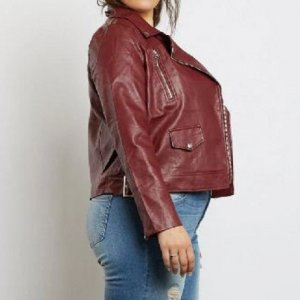 Womens Plus Size Burgundy Biker Jacket