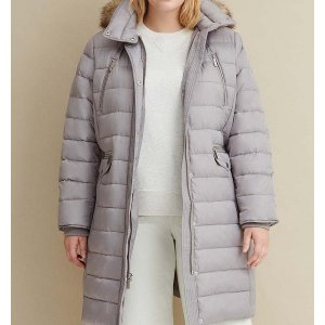 Grey Heavy Down Walker Plus Size Coat