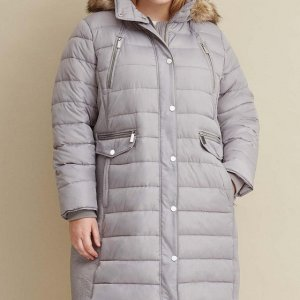 Heavy Down Walker Plus Size Grey Coat