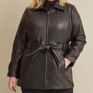 Plus Size Brown Belted Jacket