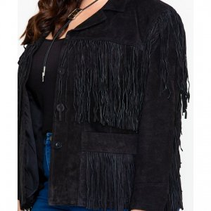 Fringe Plus Size Leather Jacket