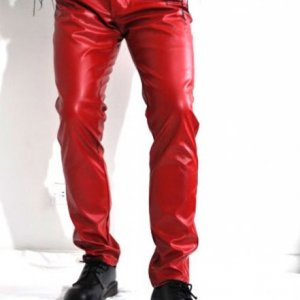 Red Leather Jeans Style Pant