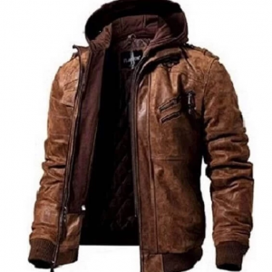 Removable-Hoodie-Men-Brown-Leather-Jacket