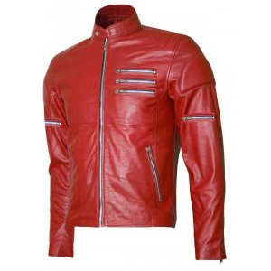 Silver Zipper Red Jacket For Men