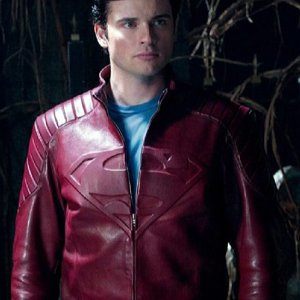 Smallville Superman Tom Welling Red Leather Jacket