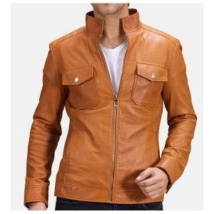 Voltex Tan Leather Moto Brown Leather Jacket