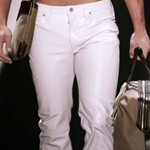Mens White Leather Pant