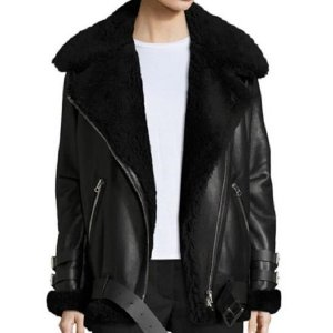 Women Black Shearling Leather Jacket