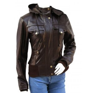 Brown Leather Bomber Jacket for Women