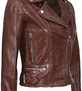 Womens Biker Brown Leather Jacket