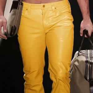 Yellow Leather Pant For Men