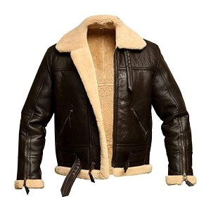 Aviator Bomber Shearling Brown Leather Jacket for Men