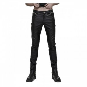 black leather mens pant