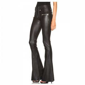 womens black leather pant
