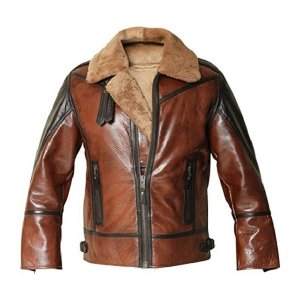 Mens Distressed Bomber Shearling Leather Jacket
