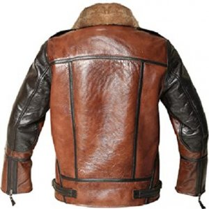 Distressed Bomber Shearling Jacket for Men