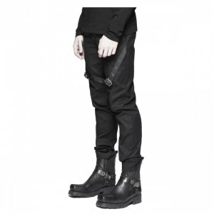 military style black leather pants