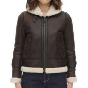 Women's Brown Aviator Leather Jacket