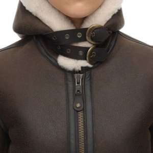 Brown Hooded Leather Aviator Jacket Womens