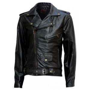 Black Biker Arnold Schwarzenegger Leather Terminator Jacket
