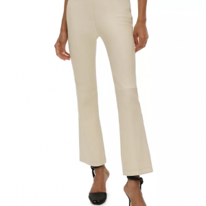 white stylish leather pant