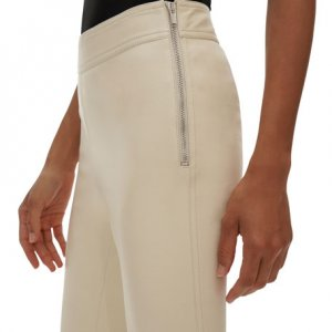 womens white leather pant
