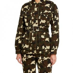 Belted Camo Jacket For Women
