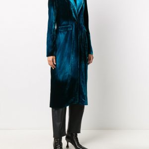 Dark Blue Velvet Long Coat