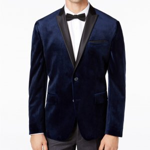 Navy Mens Velvet Coat